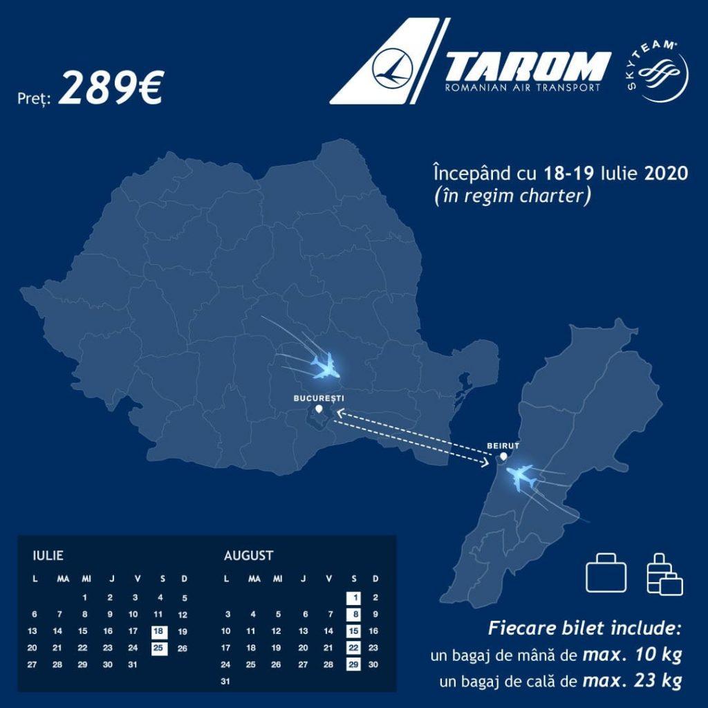 TAROM redeschide zborurile spre Beirut. Program de zbor și condiții de călătorie