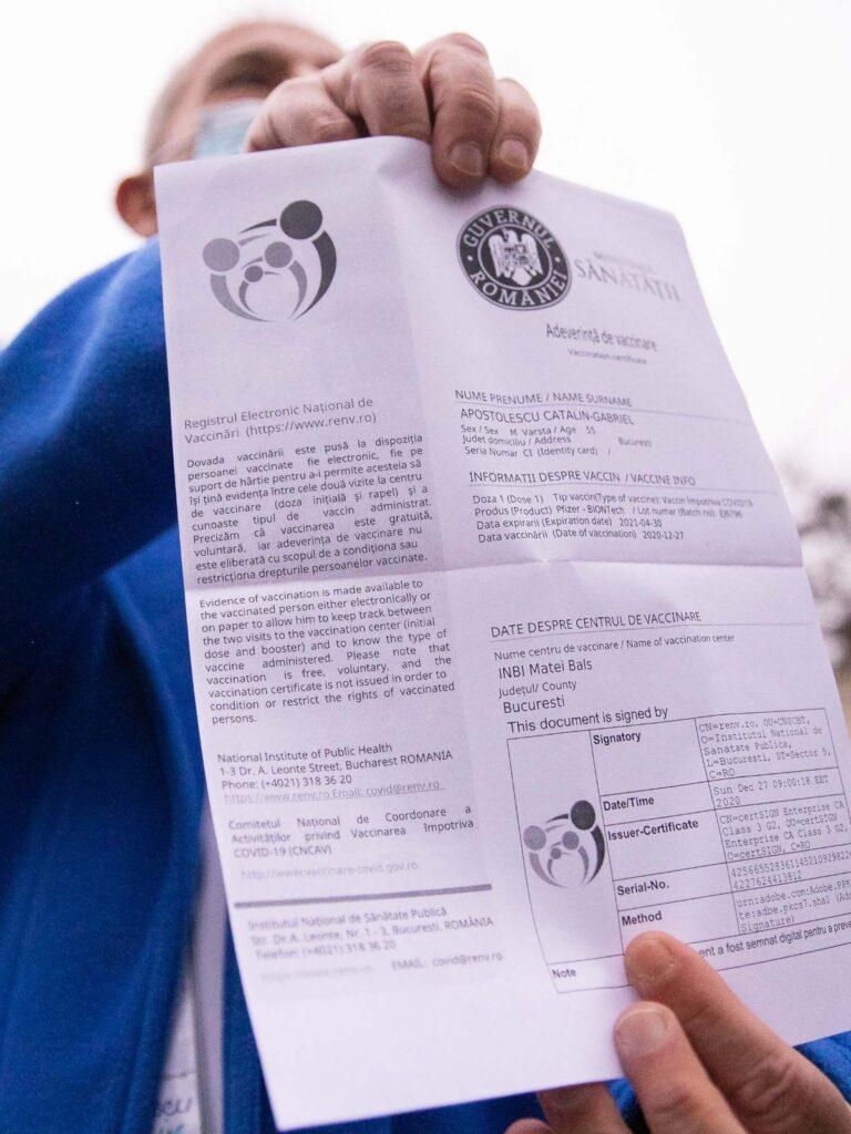 Adeverințele de vaccinare ce se emit în România