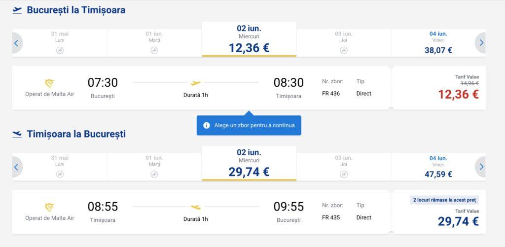 Program de zbor Ryanair pe ruta București - Timișoara și retur, bilete de avion ieftine începând de la 12  euro