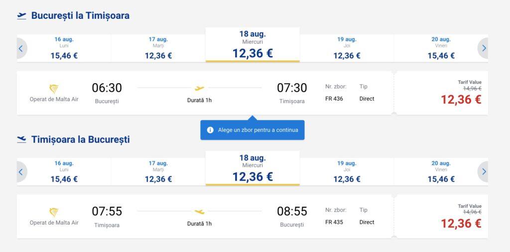 Program de zbor Ryanair pe ruta București - Timișoara și retur în lunile iulie și august
